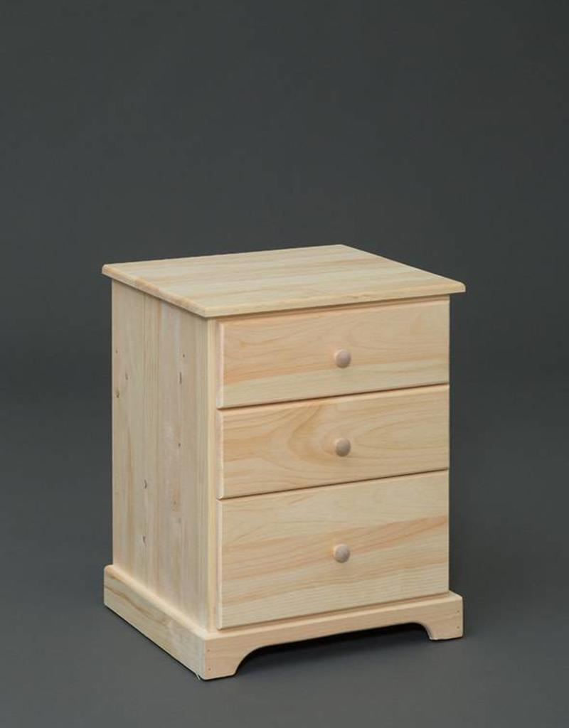Fighting Creek Pine 3 Drawer Nightstand Unfinished