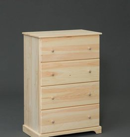 Fighting Creek Pine 4 Drawer Large Chest - Unfinished