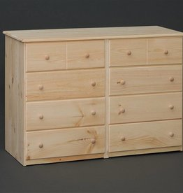 Fighting Creek Pine 8-Drawer Dresser w/ Euro Glides - Unfinished