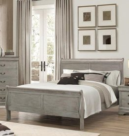 Crownmark Louis Philipe Sleigh Twin Bed - Gray