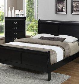 Crownmark Louis Philipe Sleigh Queen Bed - Black