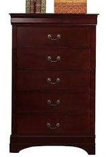 Crownmark Louis Philipe Sleigh Chest of Drawers Cherry