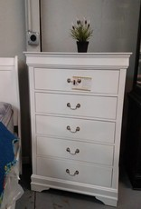 Crownmark Louis Philipe Sleigh Chest of Drawers White