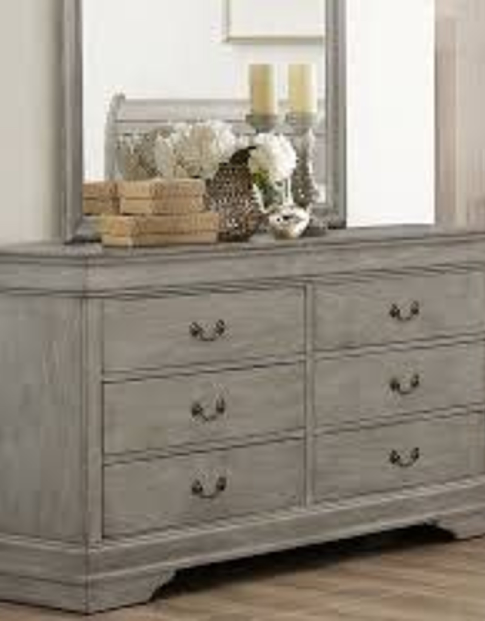 Crownmark Louis Philipe Sleigh Dresser - Gray