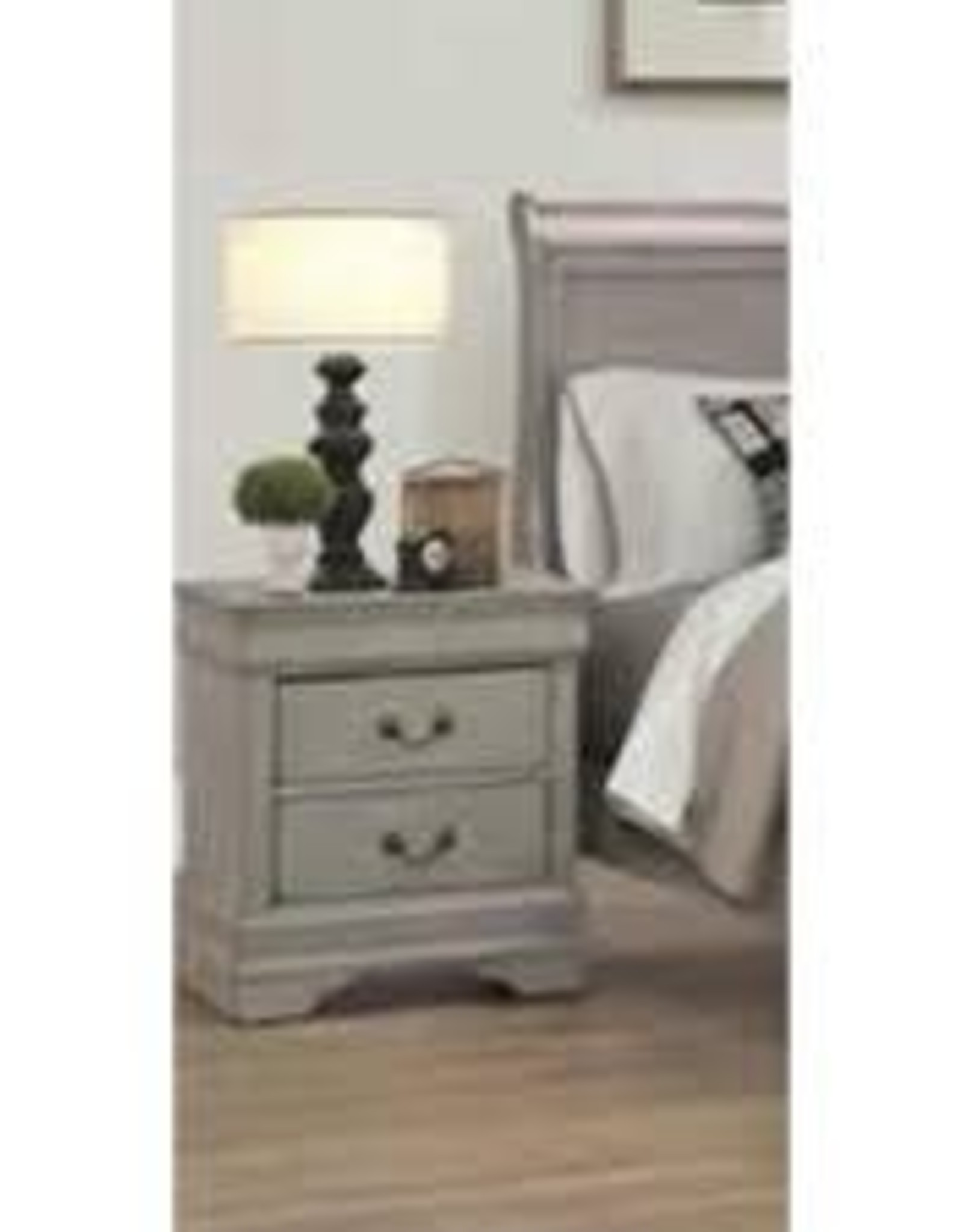 Crownmark Louis Philipe Sleigh Nightstand - Gray
