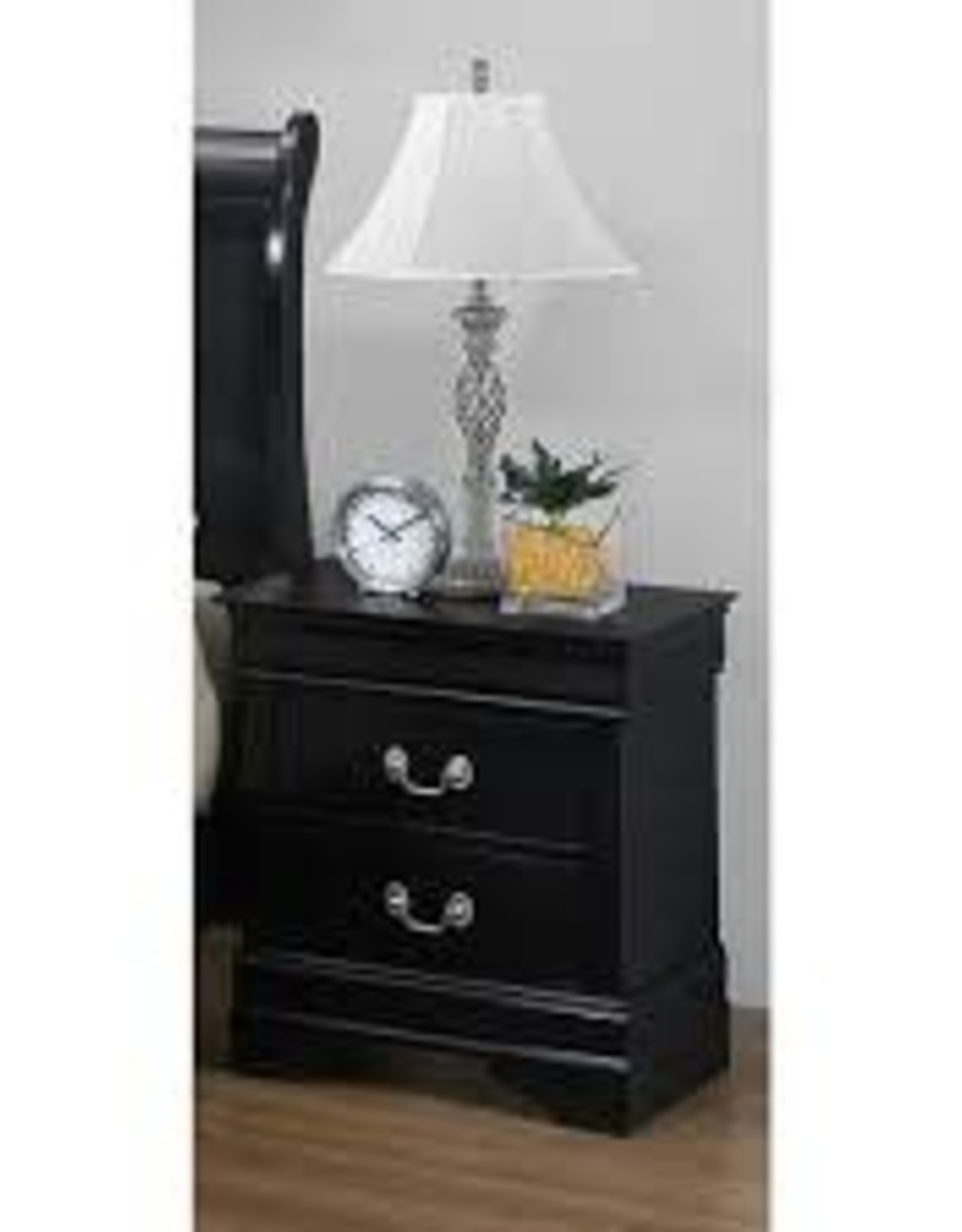 Crownmark Louis Philipe Sleigh Nightstand - Black