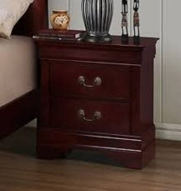 Crownmark Louis Philipe Sleigh Nightstand - Cherry