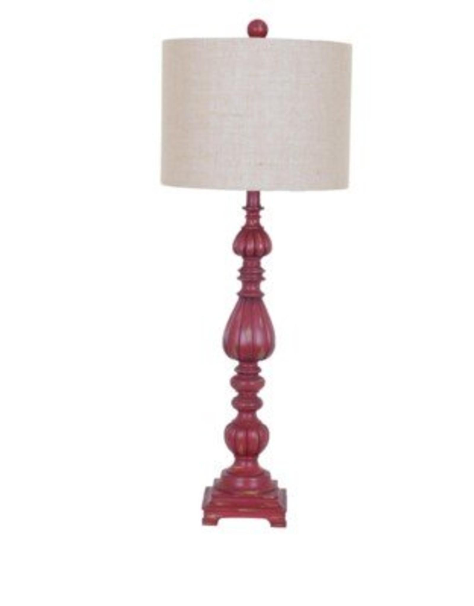 Crestview Slender Avian Distressed Red Lamp w/ Shade