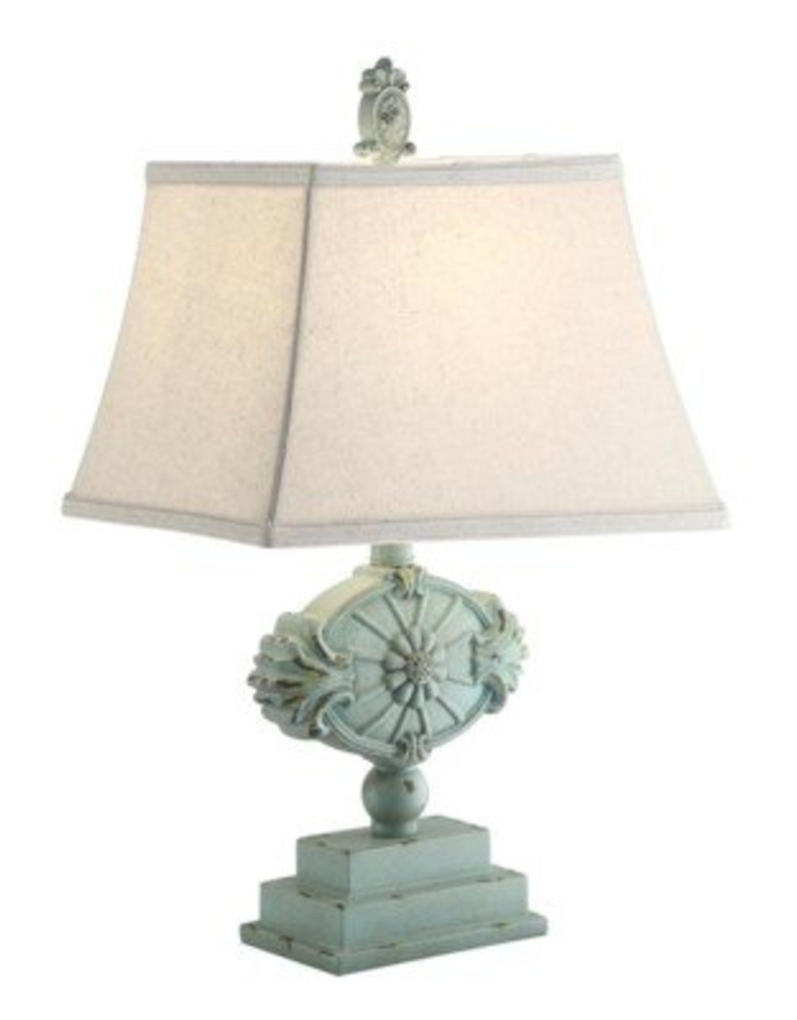 Crestview Kaleen Green Distressed Table Lamp w/ Shade
