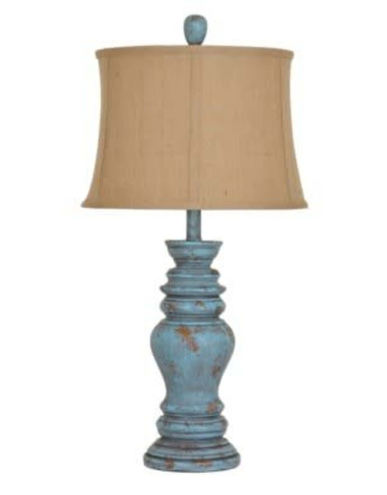 Crestview Barclay Distressed Green Table Lamp w/ Shade