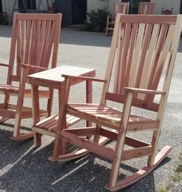Family Woodworking Pair of Cedar Outdoor Rockers & 1 Side Table