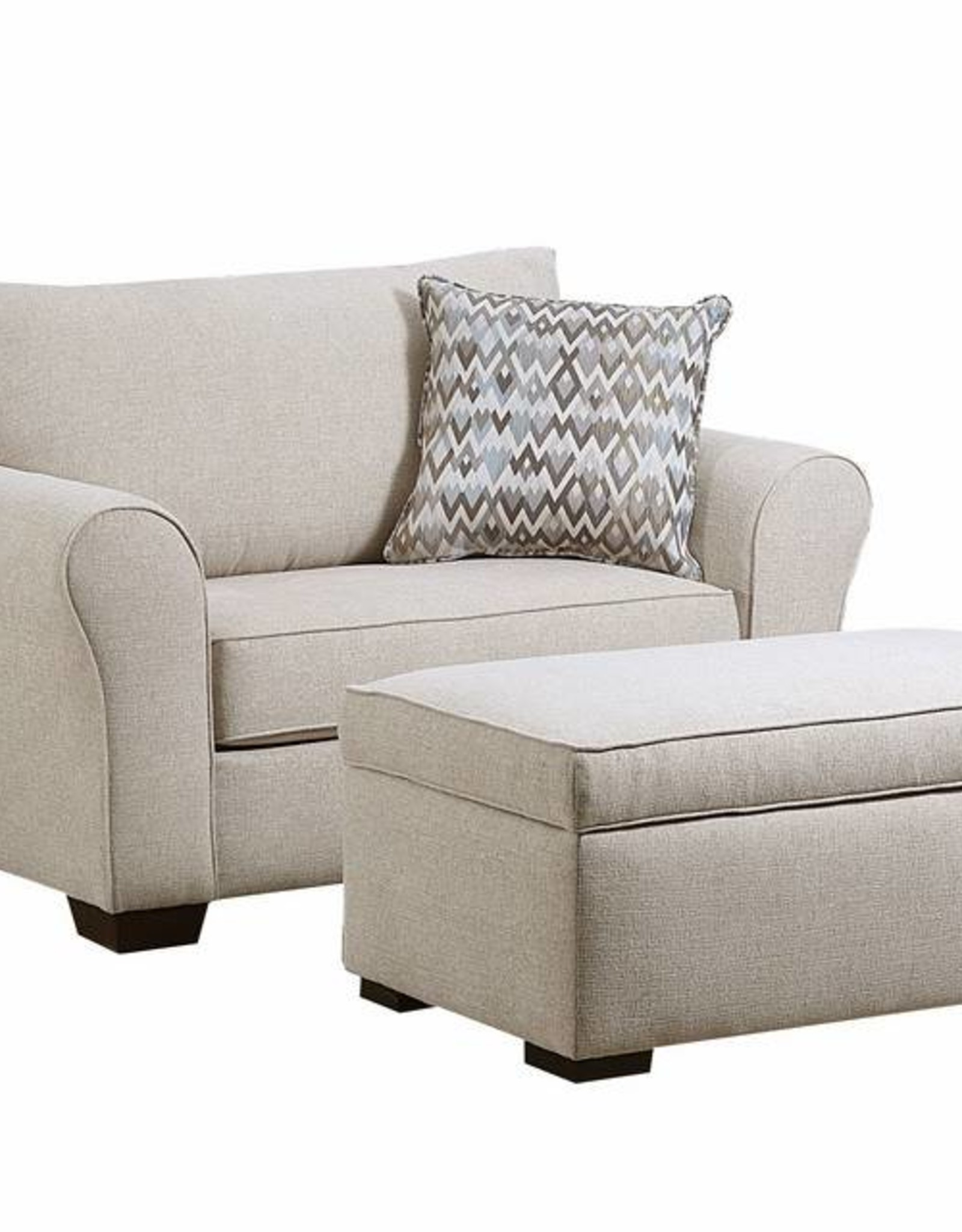 United Boston Linen Chair 1/2 and Ottoman