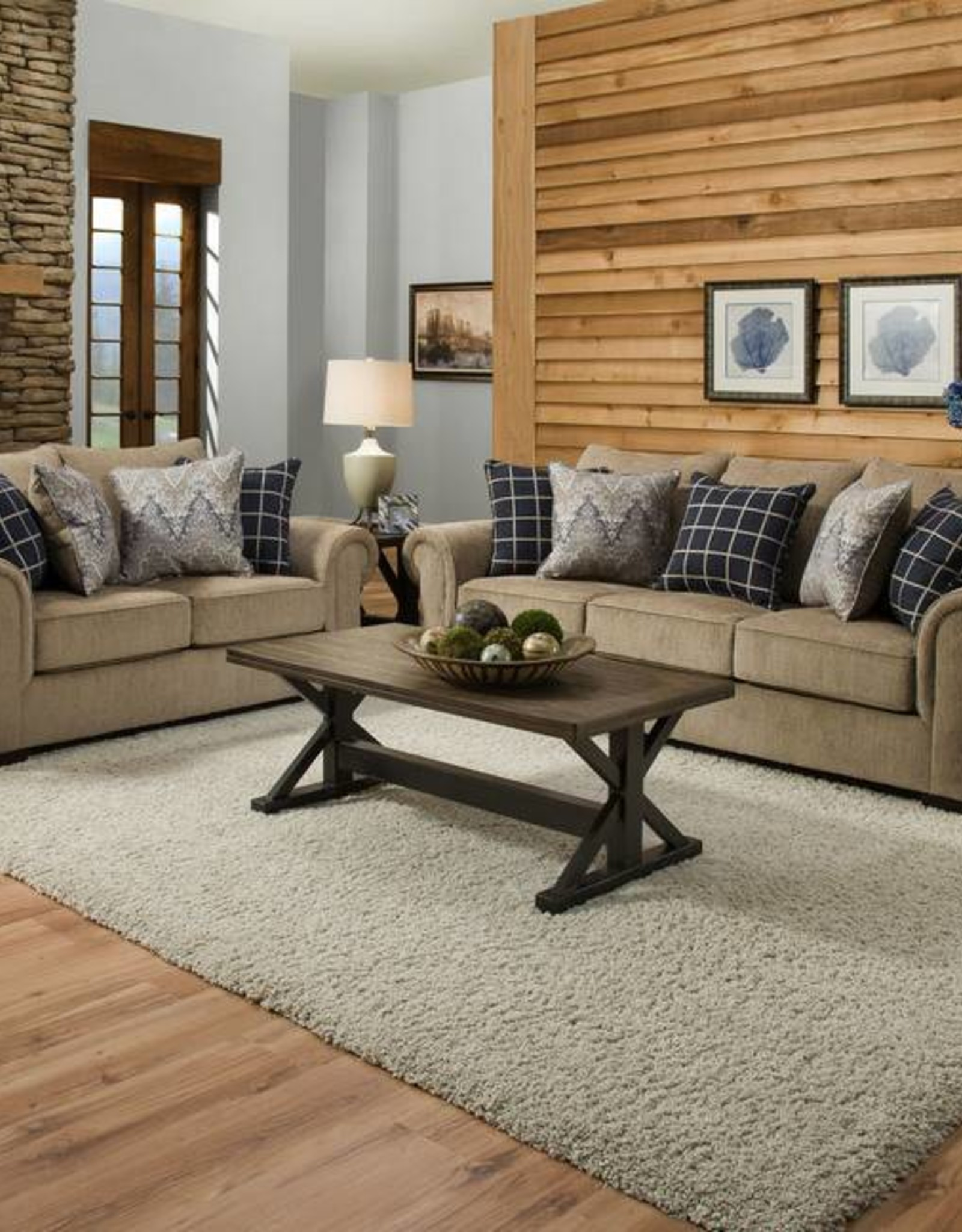 United Gavin Mushroom Sofa and Loveseat Set