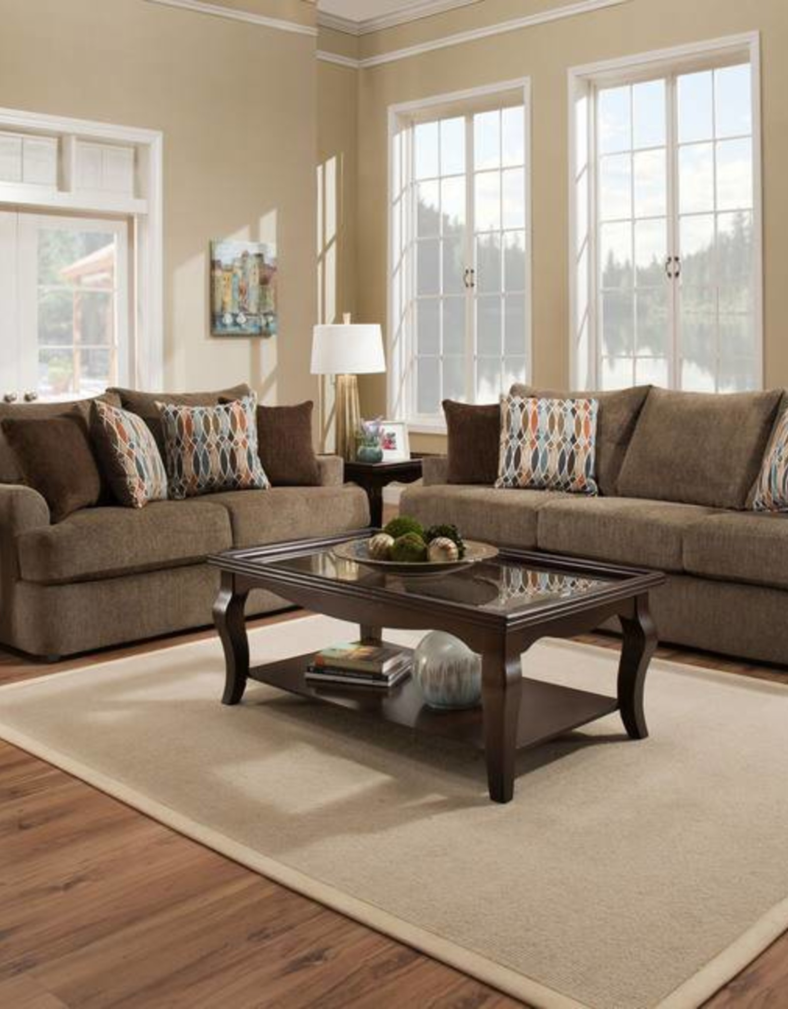 United Grandstand Walnut Sofa and Loveseat
