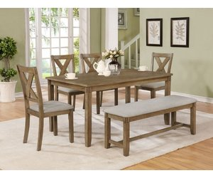 Crownmark Clara Dining Table Set w/ 4 chairs (Wheat)