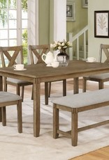 Crownmark Clara Dining Table w/ 4 Chairs and Bench (Wheat)