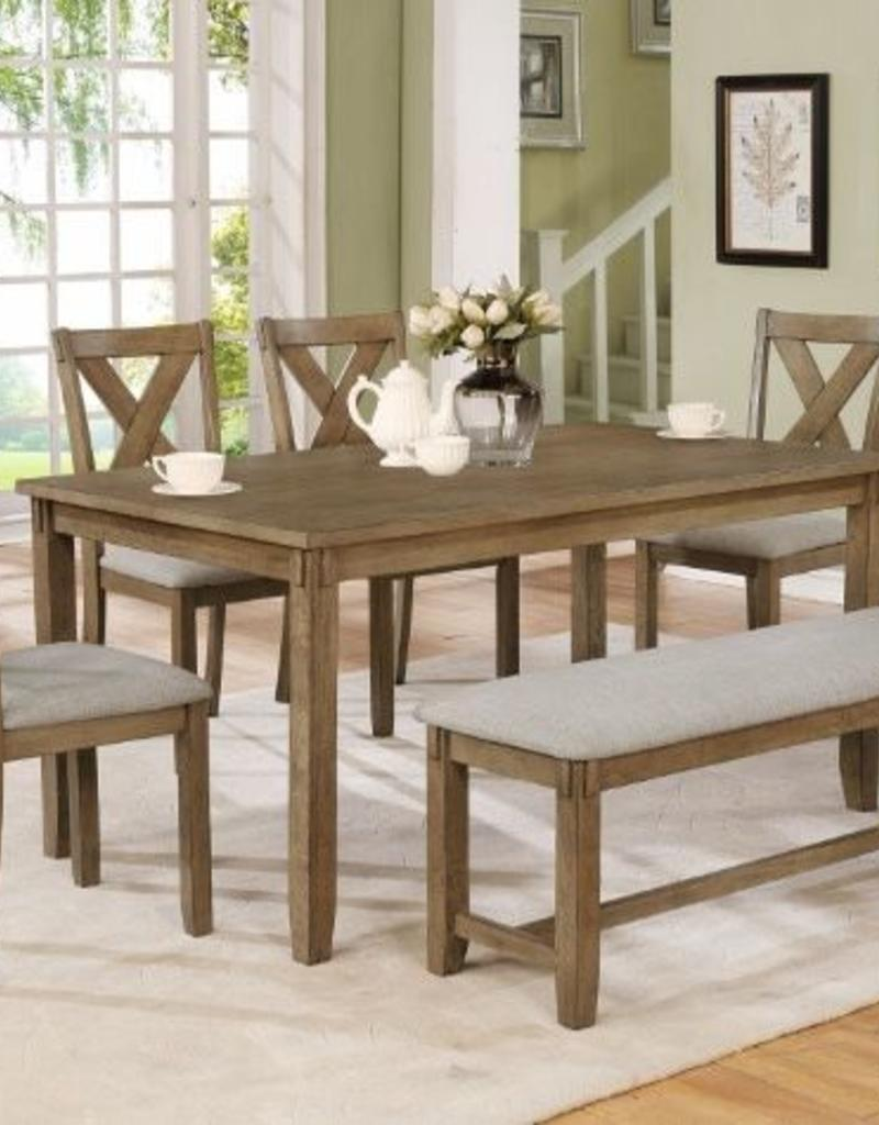 Brilliant Crownmark Clara Dining Table W 4 Chairs And Bench Wheat Ncnpc Chair Design For Home Ncnpcorg