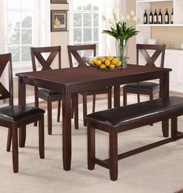 Crownmark Clara Dining Table w/ 4 Chairs and Bench (Espresso)