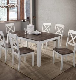 United A La Carte Rectangular Farmhouse Dining Table w/ 6 Chairs