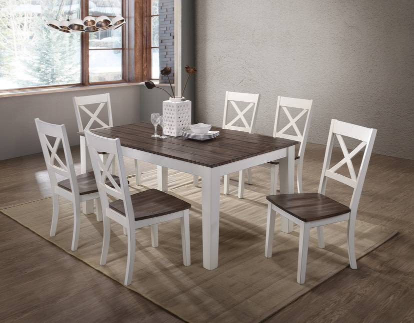 A La Carte Rectangular Farmhouse Dining Table W 6 Chairs