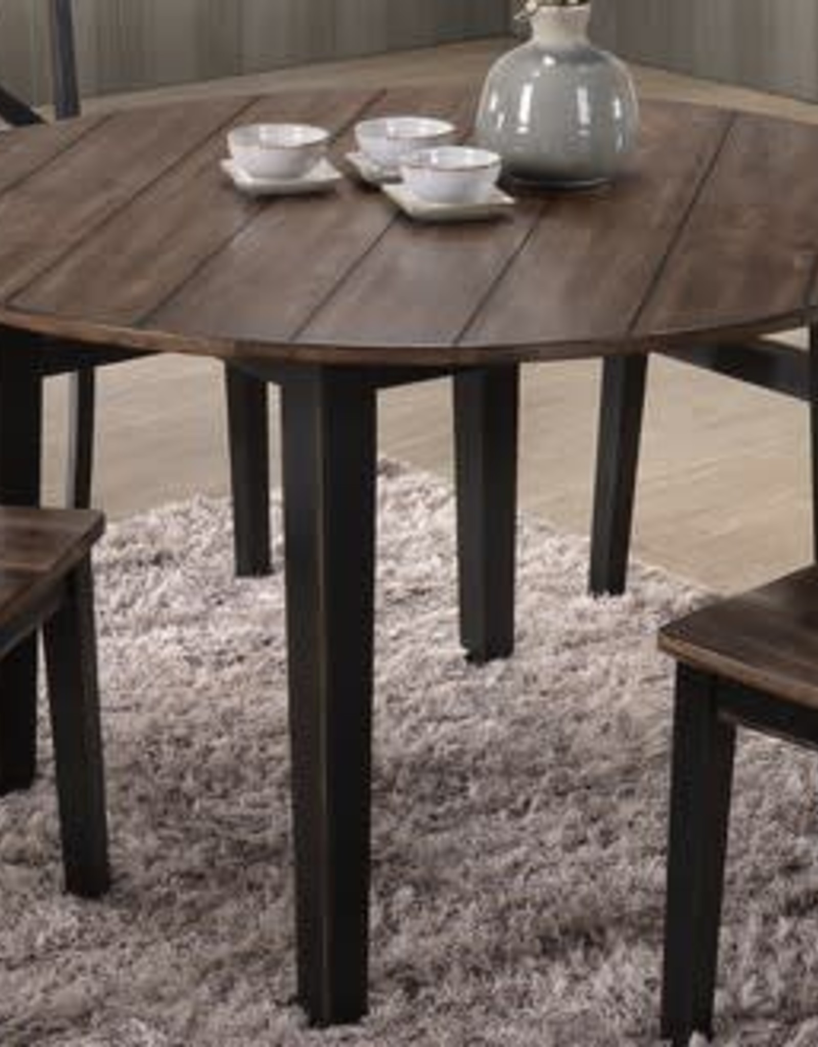 Lane A La Carte Round Farmhouse Dining Table: Black