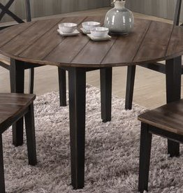 United A La Carte Round Farmhouse Dining Table: Black