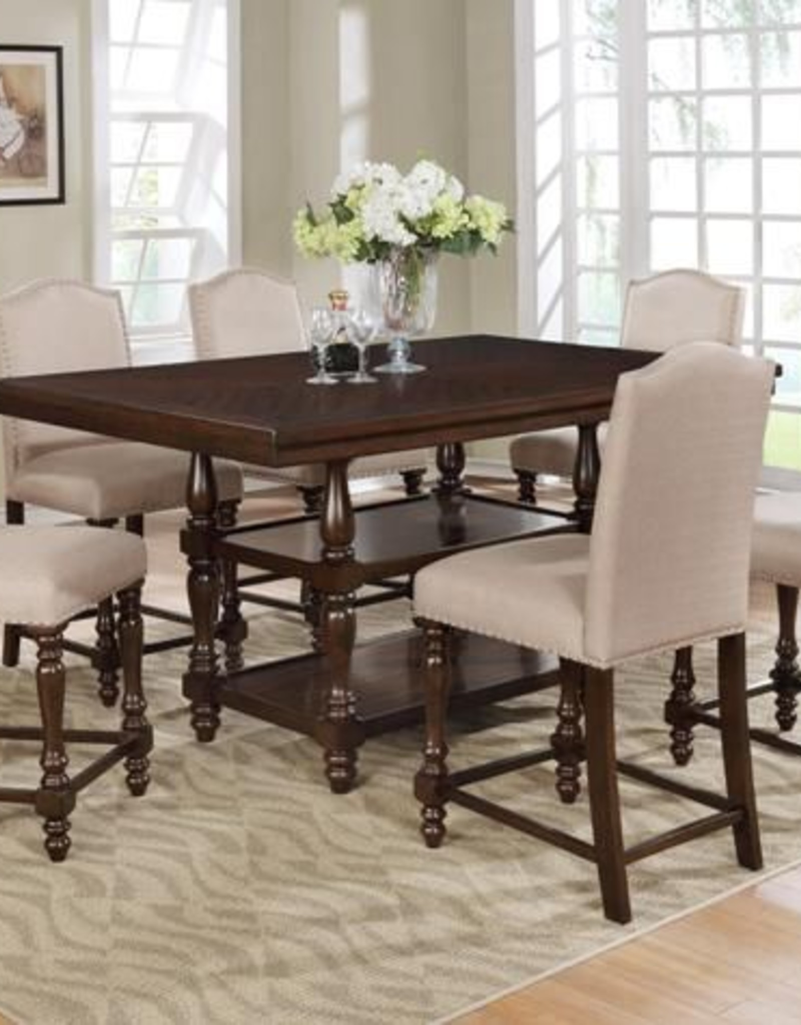Crownmark Langley Counter Height Table w/ 4 Chairs - Espresso