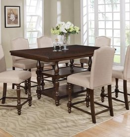 Crownmark Langley Counter Height Table w/ 4 Chairs - Taupe