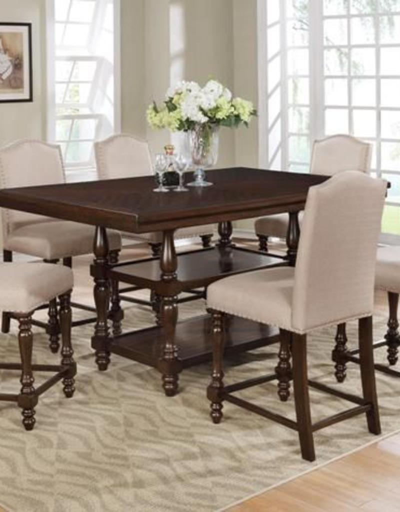 Crownmark Langley Counter Height Table W 4 Chairs Espresso