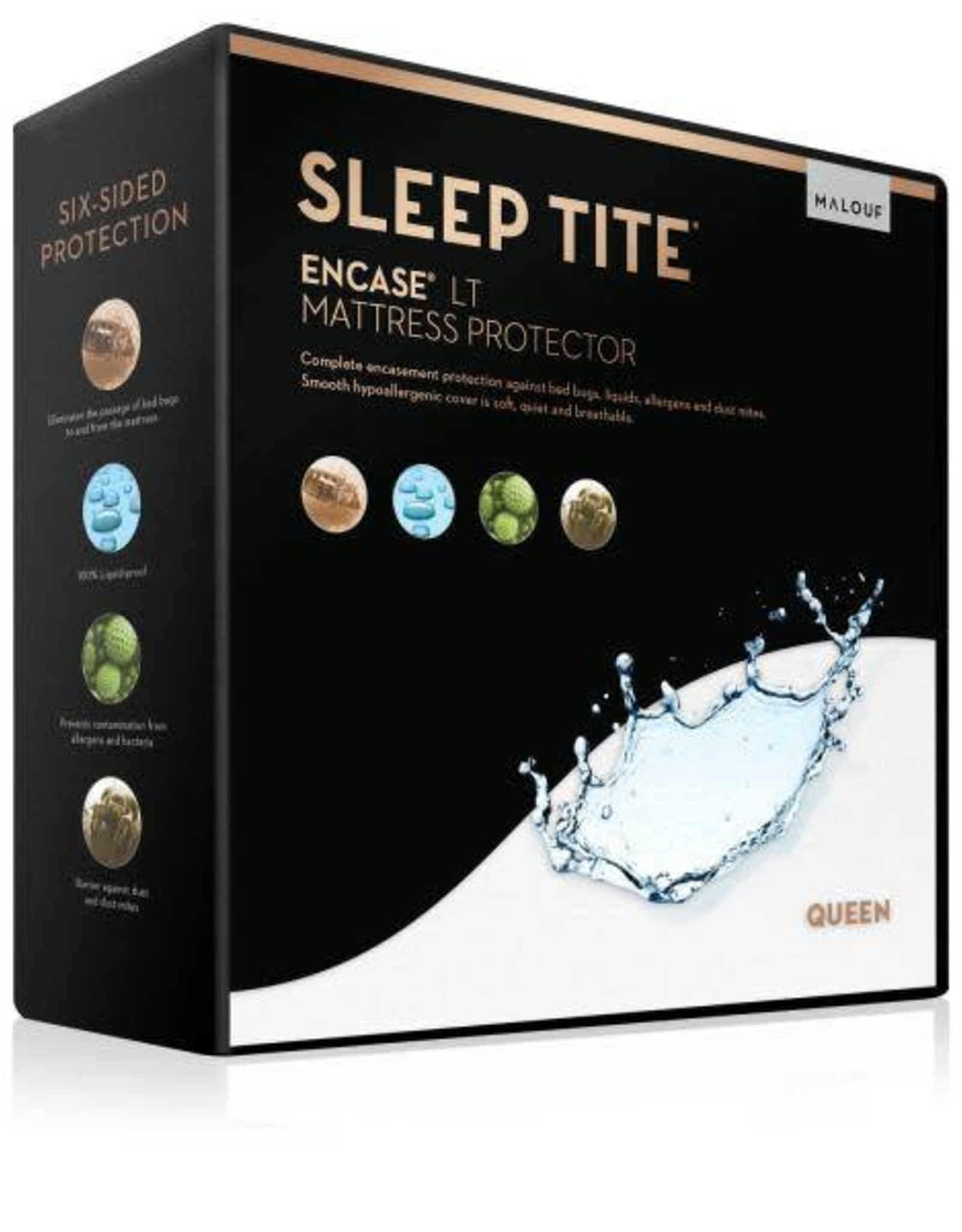 Malouf Sleep Tite Encased LT Mattress Protector - Queen Size