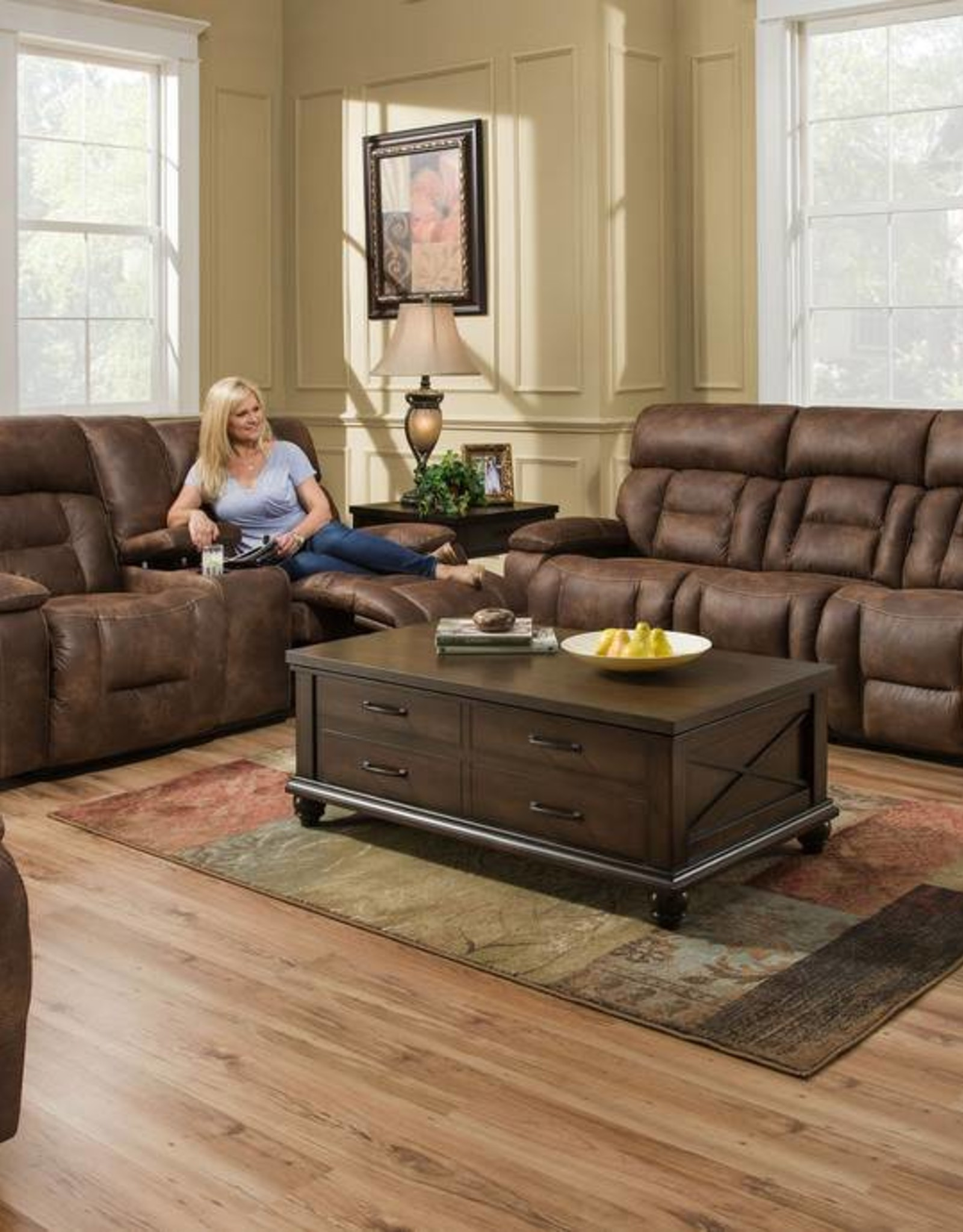 Picture of: Dorado Walnut Dual Reclining Sofa And Love Seat Set No Power Bargain Box And Bunks