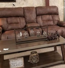 United Dorado Walnut Dual-Reclining Love Seat w/ Console - No Power