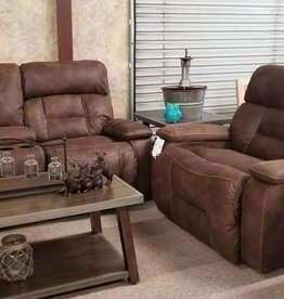 United Dorado Walnut Dual-Reclining Love seat and Power-recline Cuddler-Recliner