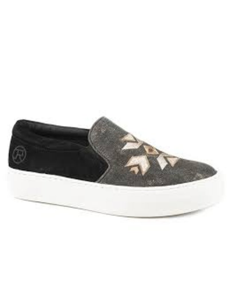Shoes Roper 09-021-3011-2237<br /> Black Metallic Canvas & Aztec Embrd