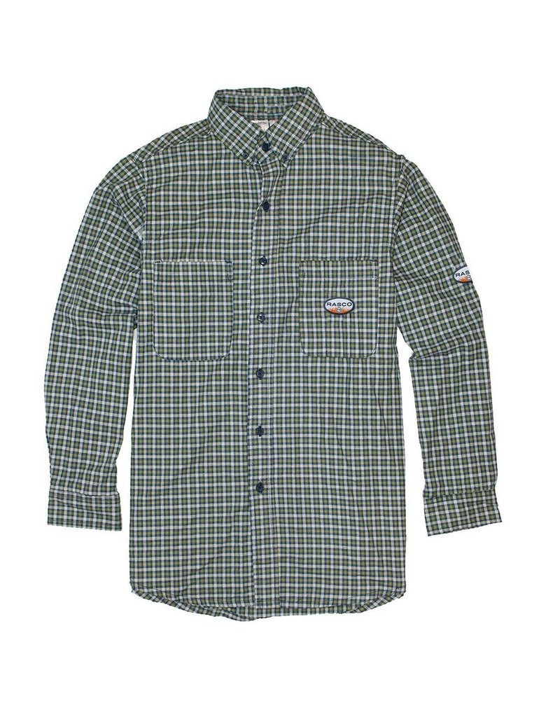 Tops-Men RASCO FR0824GN<br /> Flame Resistant WorkwearDress & Plaid Shirts