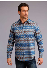 Tops-Men Stetson 11-001-0425-0651<br /> Blue Aztec Print