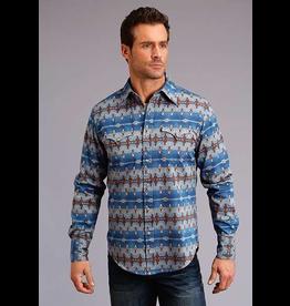 Tops-Men Stetson 11-001-0425-0651<br /> Blue Aztec Print