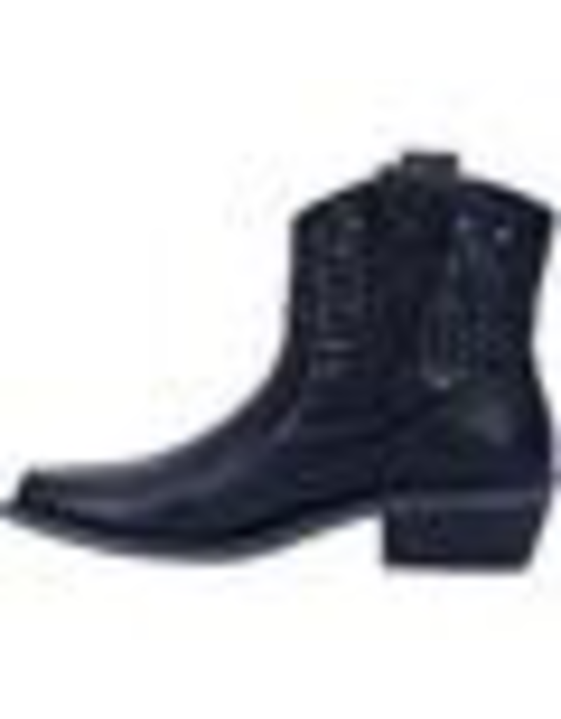 "Boots-Women DINGO DI150 'Dusty' Womens 6"" Black Leather Ankle Booties"