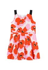 Catimini Catimini Dress Orange Pink Flower  Print