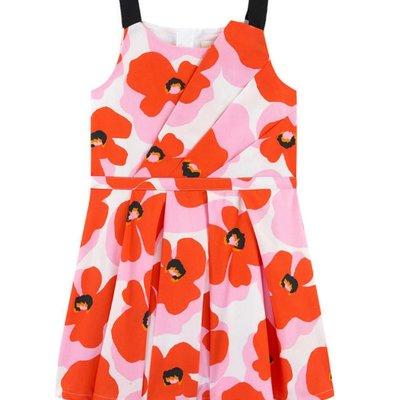 Catimini Catimini Dress Orange Pink Flower  Print