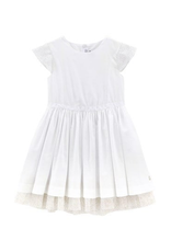 Petit Bateau PB SS White Dress with Tulle Sleeves 47236 S19