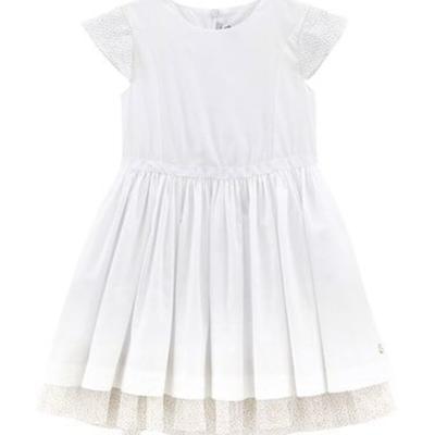 Petit Bateau Petit Bateau White Dress with Tulle Sleeves