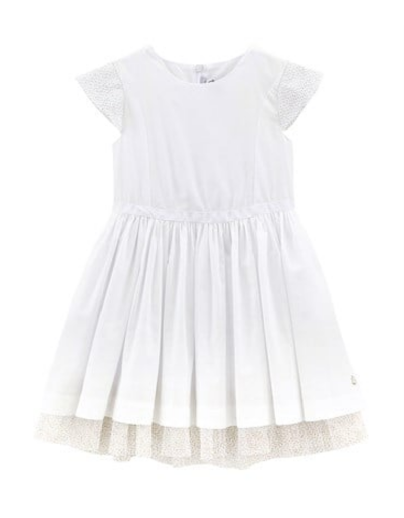 Petit Bateau Petit Bateau White Dress with Tulle Sleeves