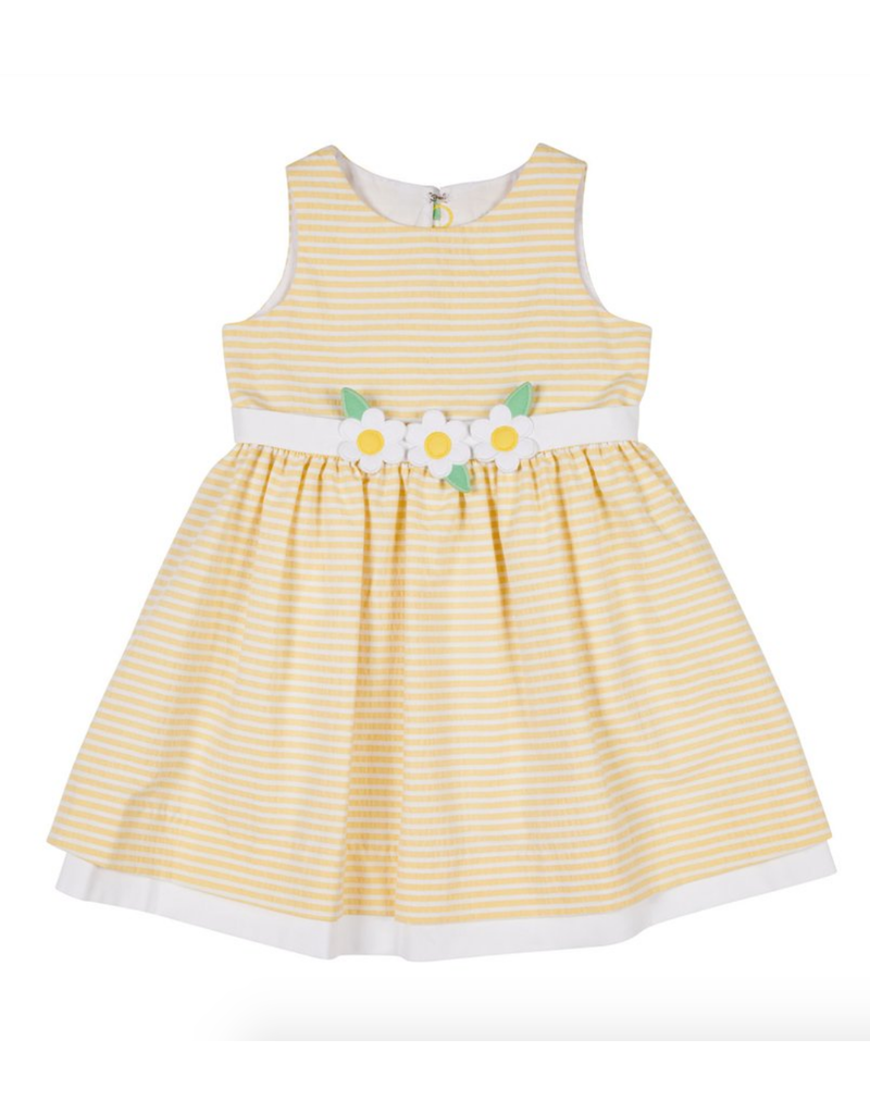 Florence Eiseman Florence Eisman Dress Striped Yellow with Flowers