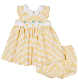 Florence Eiseman FE Dress Yellow Stripes Flowers with Bloomer