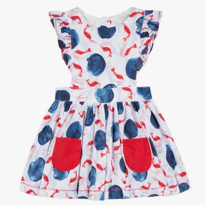 Catimini Catimini Lobster Print Ruffle Dress Red/Blue