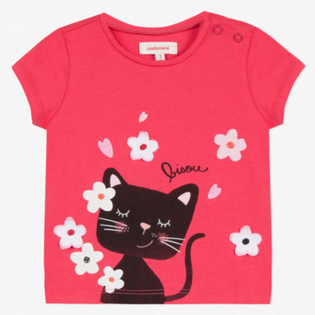 Catimini CATIMINI Pink Bisou Cat T-Shirt