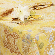 """Beauville Beauville Tablecloth Rialto 67""""x95"""" Yellow"""