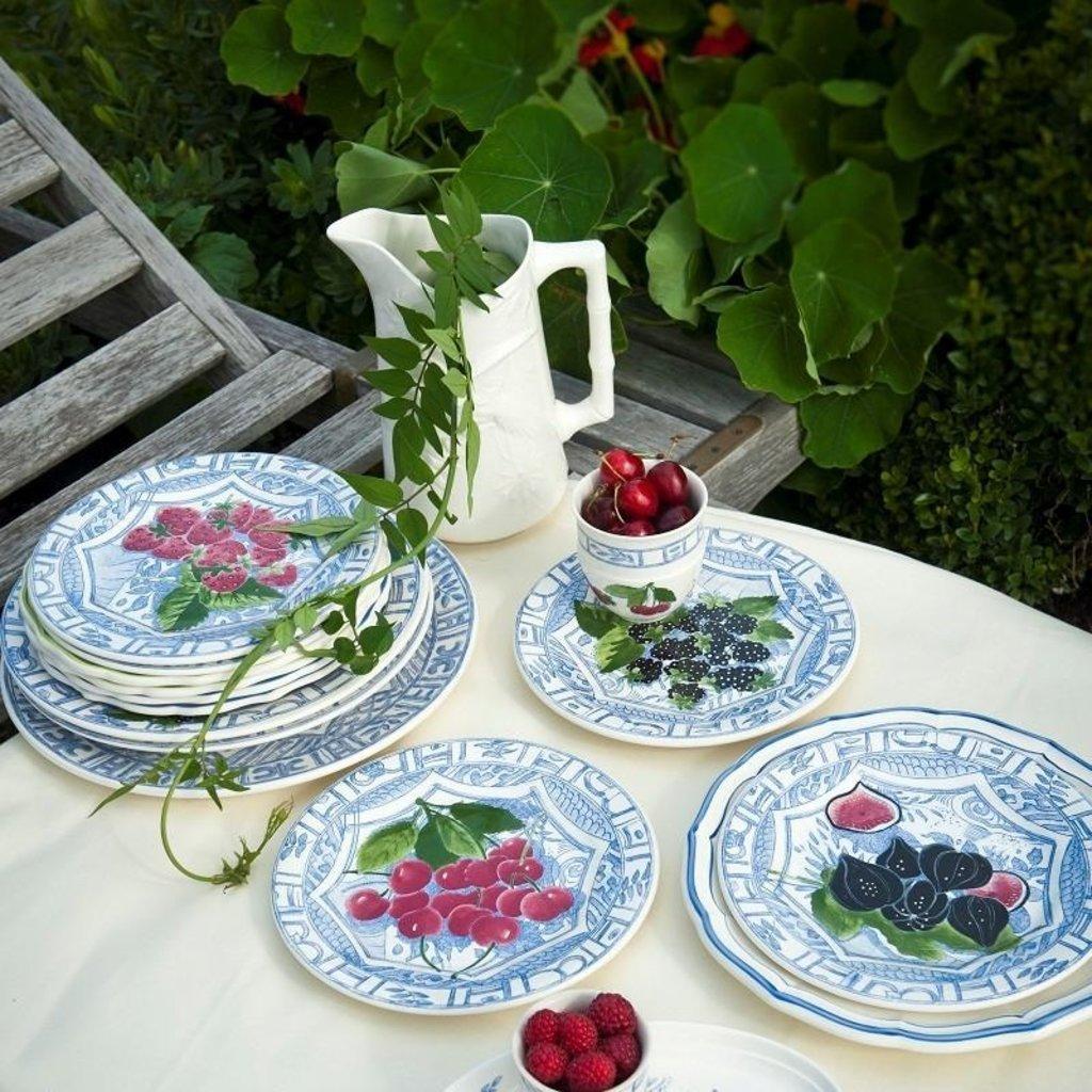 Gien Gien Oiseau Blue Fruit Cake Platter