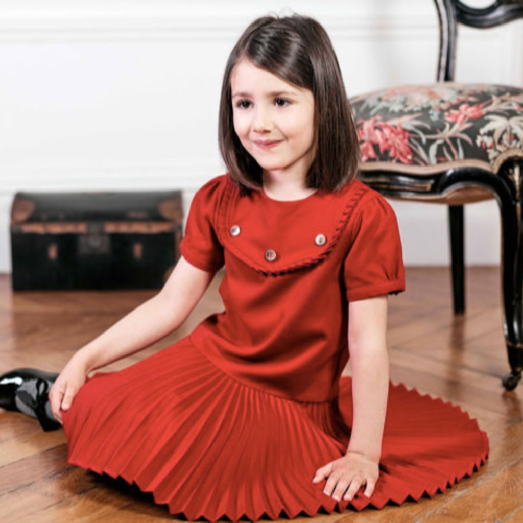 Tartine et Chocolat Tartine et Chocolat red pleated dress
